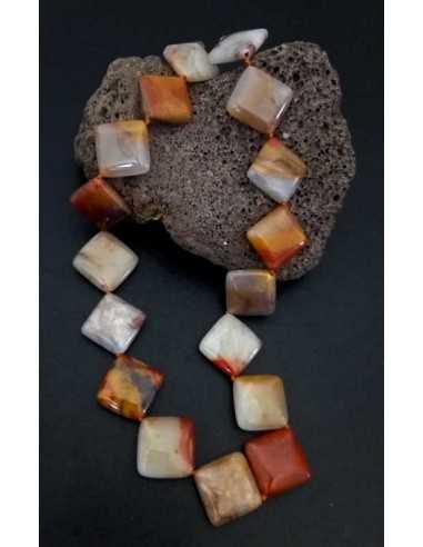 Collier pierre agate carré effet caillou