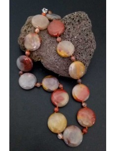 Collier pierre agate ronde et pierres boules effet caillou
