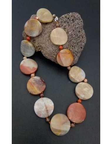 Collier pierre agate ronde large et pierres boules effet caillou