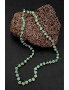 Collier prehnite pierres boules 7 mm