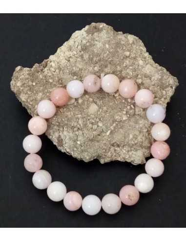 Bracelet pierre opale rose pierres boules 10 mm Edition limitée