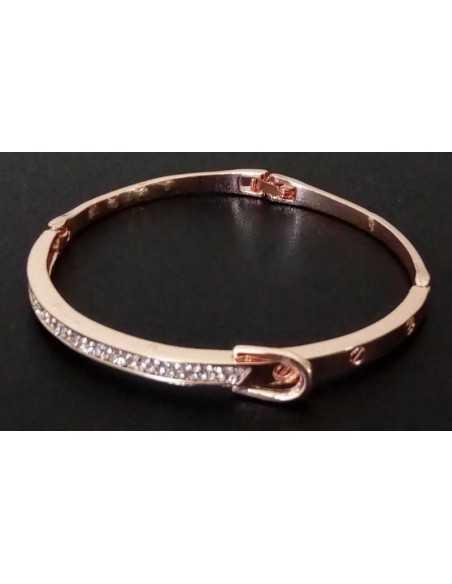 Bracelet jonc modèle ceinture métal rhodié serti de zirconiums
