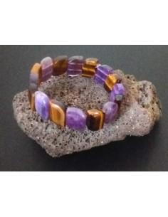Bracelet améthyste & oeil de tigre pierres en relief