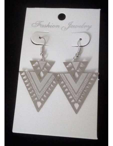 Boucles d'oreilles acier triangles motifs géométriques