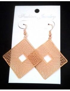 Boucles d'oreilles fantaisie carré géométriques filigranes