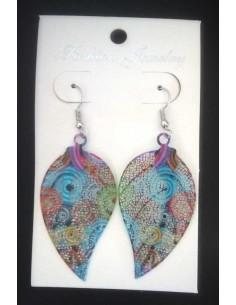 Boucles d'oreilles feuilles motif plume et spirale couleur