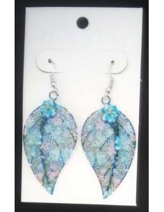 Boucles d'oreilles feuilles motif fleur bleue couleur