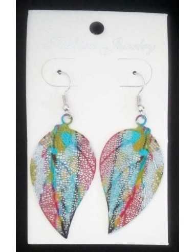Boucles d'oreilles feuilles motifs fantaisie couleur