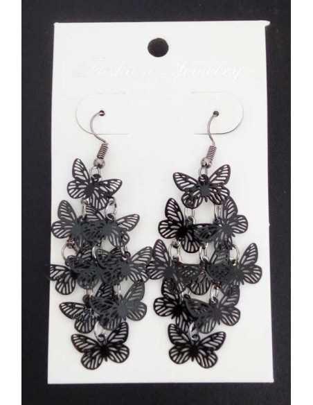 Boucles d'oreilles pampilles papillons fantaisie