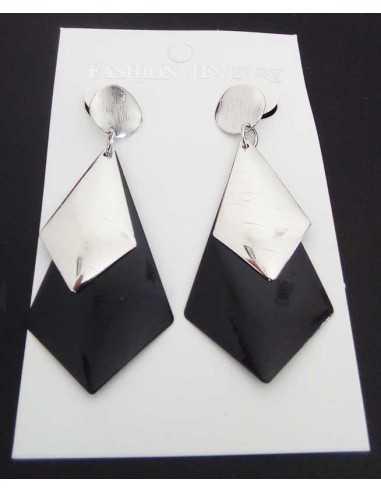 Boucles d'oreilles pendantes géométriques bi-colore