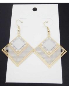 Boucles d'oreilles pendantes acier 316L carrées géométriques filigrane