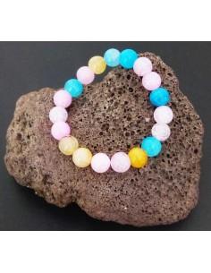 Bracelet cristal avec éclats multicolores perles boules 10 mm