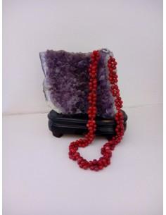 Collier corail perles rondes tressées pierre reconstituée 44 cm
