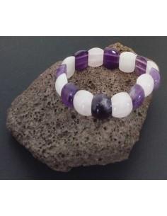 Bracelet améthyste et quartz rose pierres arrondies