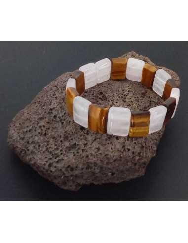 Bracelet oeil de tigre et quartz rose pierres carrées