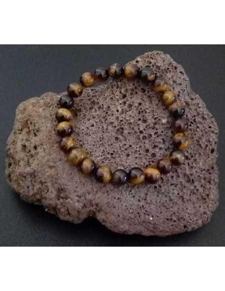 Bracelet oeil de tigre pierres boules 8 mm