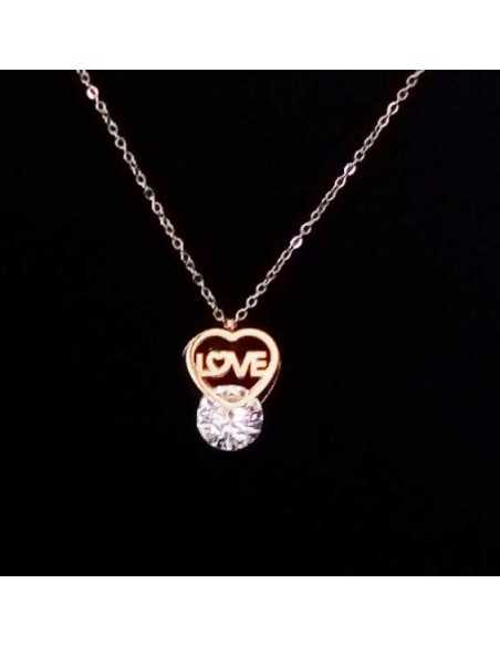"Collier acier gold pendentif perle zirconium et ""love"""