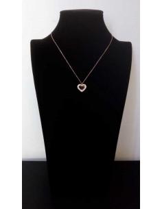 Collier acier gold rose pendentif coeur serti et zirconium