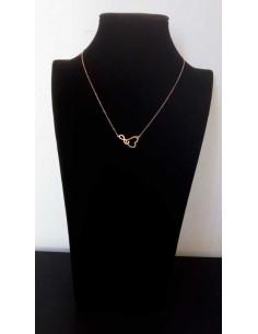 Collier acier gold rose pendentif coeur et infini enlacés
