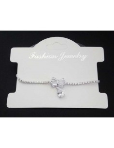 Bracelet fin ajustable pendentif noeud et zirconiums