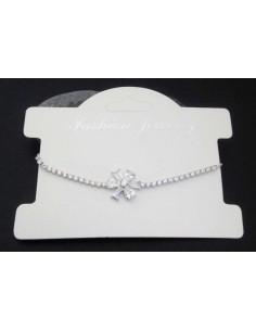 Bracelet fin ajustable pendentif fleur et zirconiums
