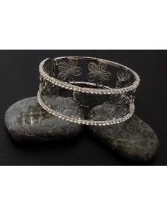 Bracelet manchette motifs petite fleur filigrane