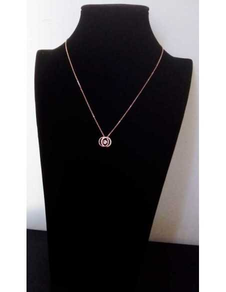 Collier argent rhodié pendentif anneaux enlacés zirconiums cubiques