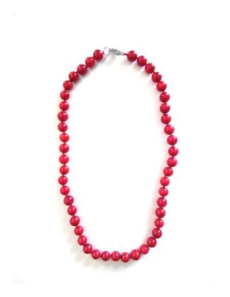 Collier corail perles 7 mm pierre reconstituée 44 cm