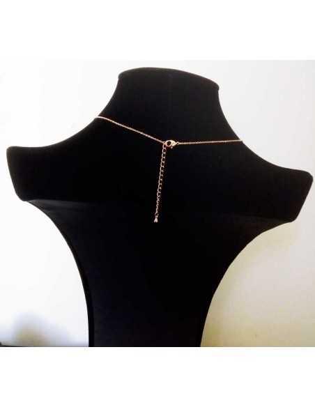 Collier argent rhodié pendentif double anneaux zirconiums cubiques