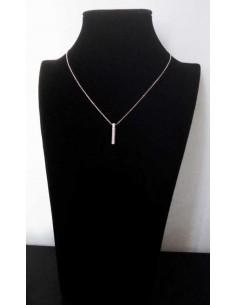 Collier pendentif tube zirconium rhodié