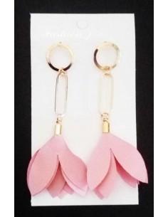 Boucles d'oreilles pendantes fleurs pompon tissu fantaisie