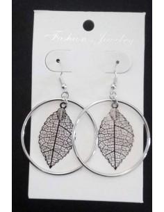 Boucles d'oreilles créoles pendentif feuille filigrane martelée