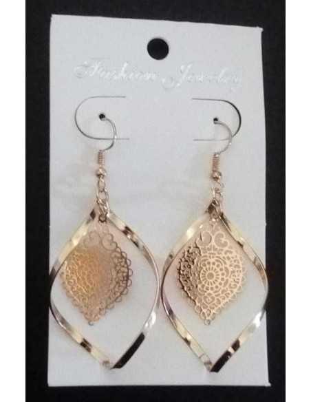 Boucles d'oreilles pendentif feuille motif oriental gouttes incurvées