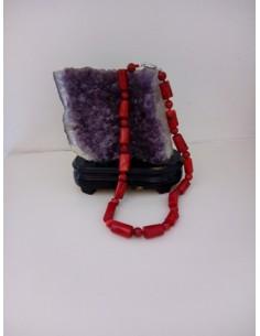 Collier corail perles vintage pierre reconstituée 44 cm