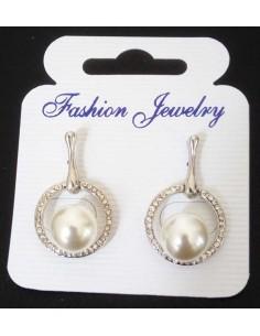 Boucles d'oreilles puces anneaux sertis et perle