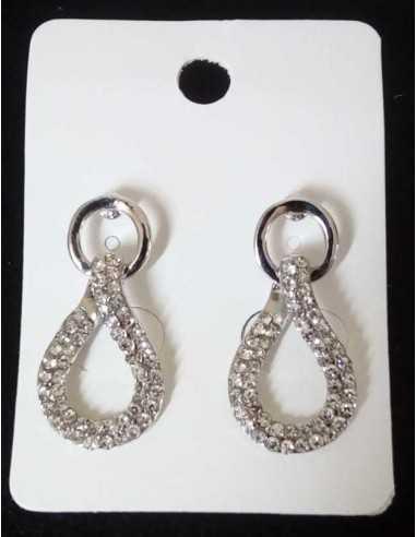 Boucles d'oreilles pendantes gouttes serties sur anneaux