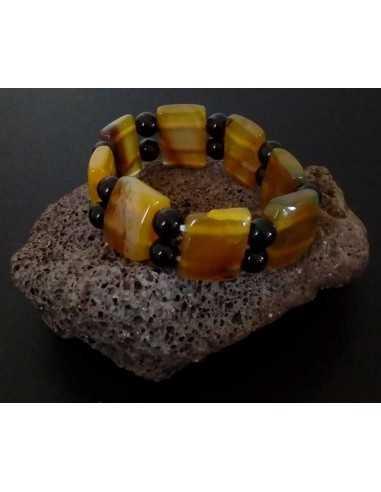 Bracelet pierre agate bicolore jaune et noir