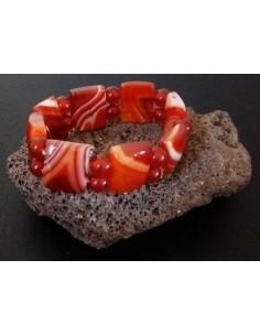 Bracelet pierre agate géométriques teinte marron