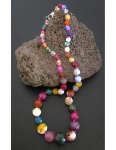 Collier pierres agate dégradées multicolores facettées