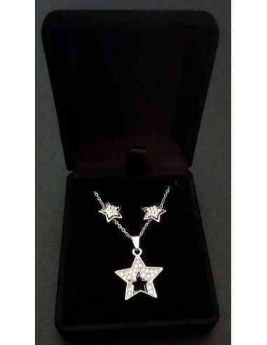 Parure en coffret collier pendentif étoiles ouverte sertie et boucles