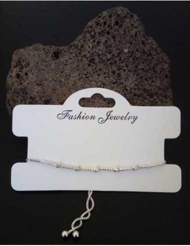 Bracelet fin type gourmette ajustable serti