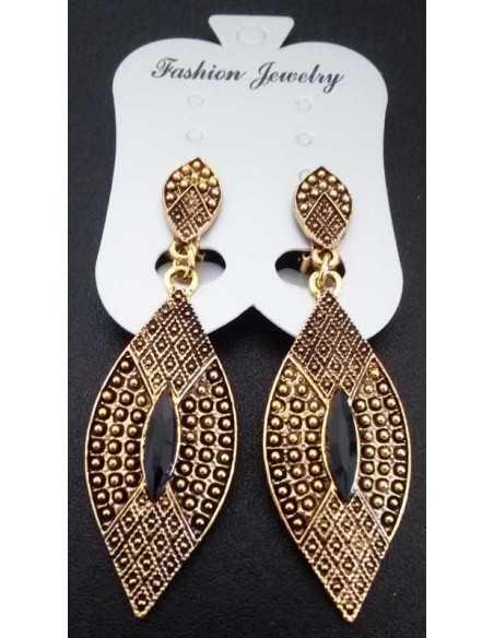 Boucles d'oreilles clips pointes vintage motifs ethniques