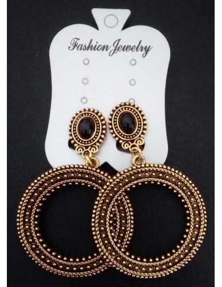 Boucles d'oreilles clips créoles pendantes vintage