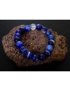 Bracelet agate pierres boules 10 mm marine