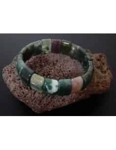 Bracelet pierres agates vertes carrées