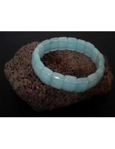 Bracelet aigue-marine pierres carrées