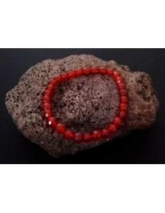 Bracelet pierre agate boule facettées marron 7 mm