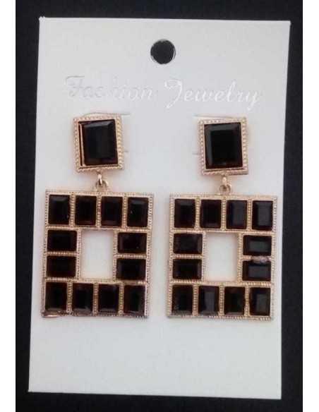 Boucles d'oreilles pendantes carrées cristaux géométriques