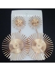 Boucles d'oreilles fantaisie soleils géométriques pendantes