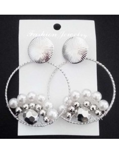 Boucles d'oreilles créoles pendantes & perles